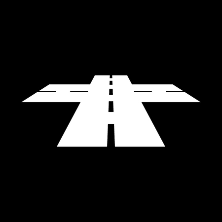 crossway: The crossroads icon. Crossway and crossing, intersection, road,  route symbol. Flat Vector illustration