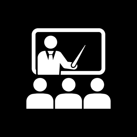 learner: The training icon. Teacher and learner, classroom, presentation, conference, lesson, seminar, education symbol Flat Vector illustration