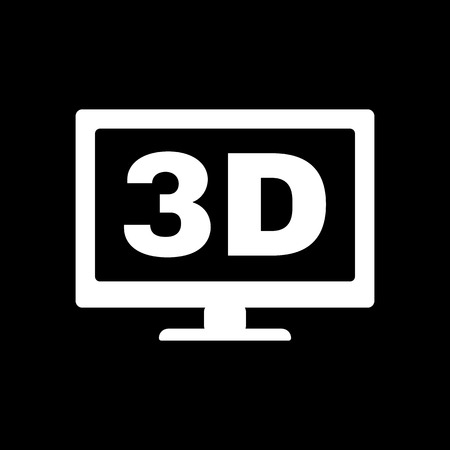 The 3d icon. Monitor and display, screen, movie symbol. Flat Vector illustration