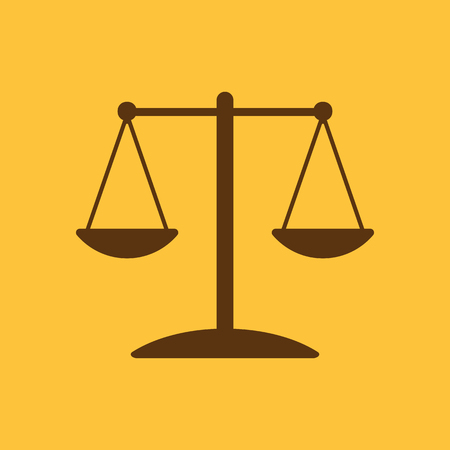 conviction: The scales icon.  Weigher symbol. Flat Vector illustration