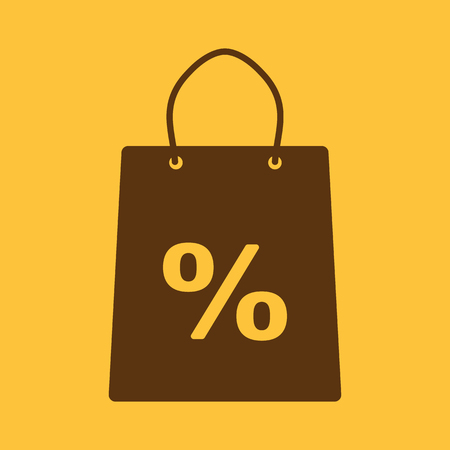 mall signs: The shopping bag icon. Shopping bag. Flat. Vector illustration