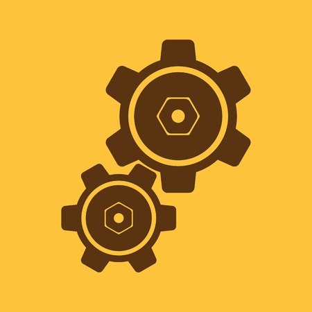 The settings icon  Gears symbol  Flat Vector illustration
