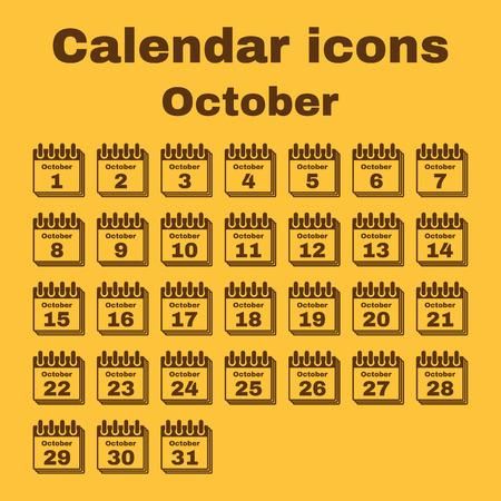 październik: The calendar icon.  October symbol. Flat Vector illustration. Set
