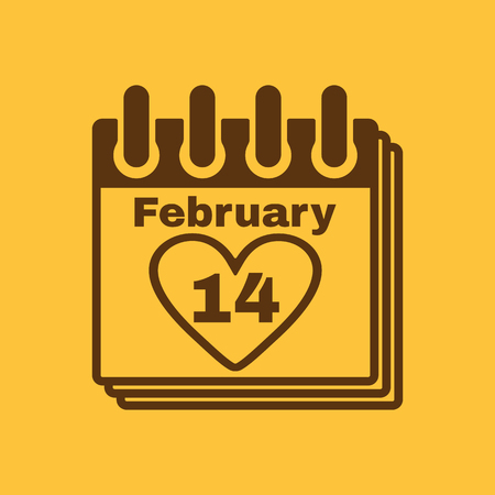 tryst: The calendar icon. Valentines day symbol. Flat Vector illustration Illustration