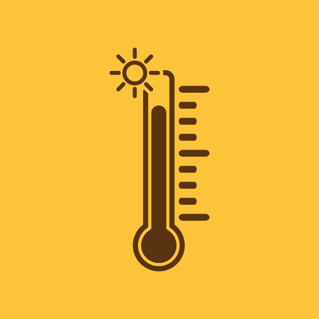 high temperature: The thermometer icon. High temperature symbol. Flat Vector illustration Illustration