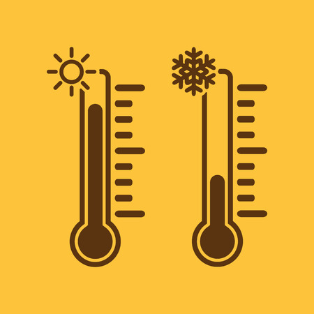 low temperature: The thermometer icon. High and Low temperature symbol. Flat Vector illustration Illustration