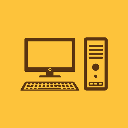 pc monitor: The computer icon. PC symbol. Flat Vector illustration