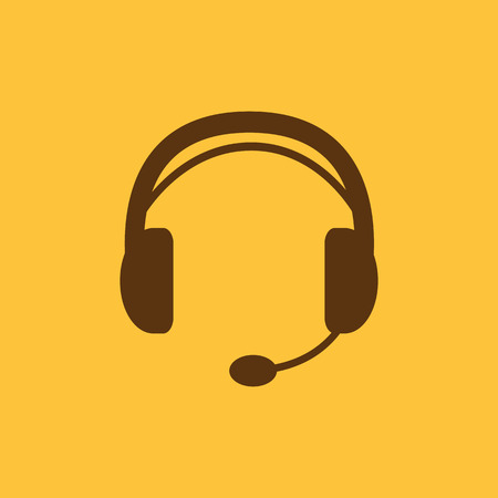 headset symbol: The headset icon. Support symbol. Flat Vector illustration