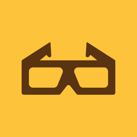 stereoscope: The 3d movie icon. 3D Glasses symbol. Flat Vector illustration