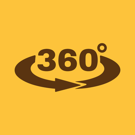 The Angle 360 degrees icon. Rotation symbol. Flat Vector illustration 矢量图像