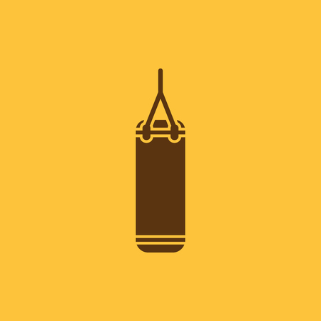 punching: The Punching Bag icon. Boxing symbol. Flat Vector illustration