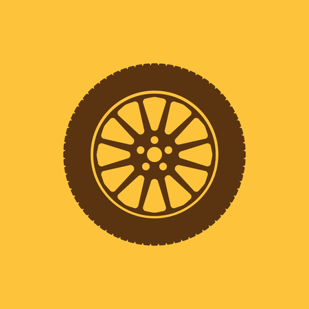 tire: The tire icon. Wheel symbol. Flat Vector illustration