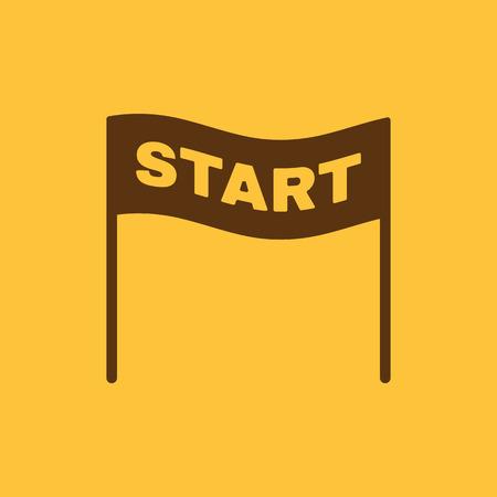 スタート アイコン。シンボルを起動します。フラットのベクトル図