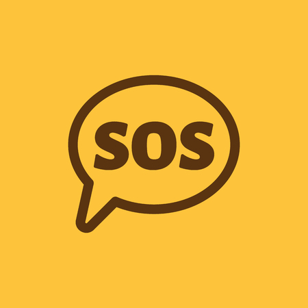 rescue circle: The sos speech bubble icon. Flat Vector illustration Illustration