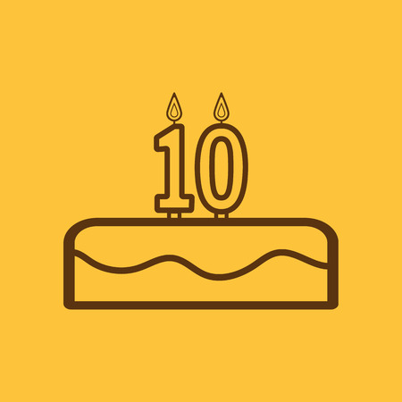 number 10: Cake with candles in the form of number 10 icon. birthday symbol. Flat Vector illustration