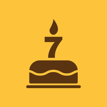 candles: The birthday cake with candles in the form of number 7 icon. Birthday symbol. Flat Vector illustration Illustration