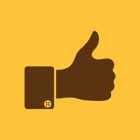 thumb up icon: The thumb up icon. Like symbol. Flat Vector illustration. Button Set Illustration