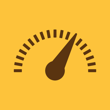 tachometer: The tachometer, speedometer and indicator icon. Performance measurement symbol. Flat Vector illustration