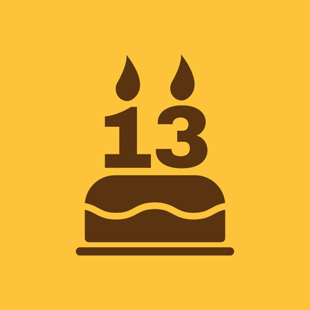 number 13: The birthday cake with candles in the form of number 13 icon. Birthday symbol. Flat Vector illustration Illustration