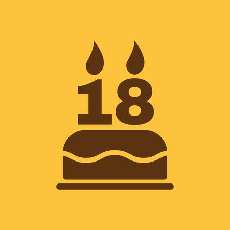 happy birthday 18: The birthday cake with candles in the form of number 18 icon. Birthday symbol. Flat Vector illustration