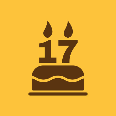 sweet seventeen: The birthday cake with candles in the form of number 17 icon. Birthday symbol. Flat Vector illustration