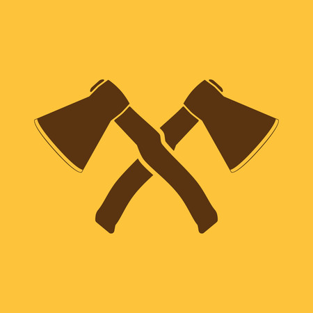 axes: The crossed axes icon. Axe and hack symbol. Flat Vector illustration