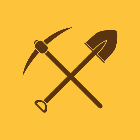 handtool: The crossing spade pickax icon. Pickax and excavation, digging, mining symbol. Flat Vector illustration