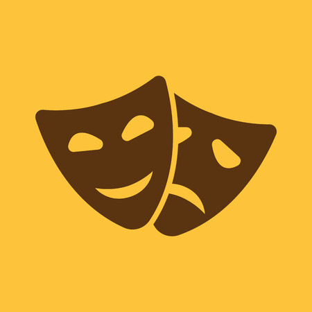 drama: The theater and  mask icon. Drama, comedy, tragedy symbol. Flat Vector illustration