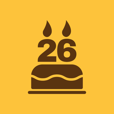 twenty six: The birthday cake with candles in the form of number 26 icon. Birthday symbol. Flat Vector illustration Illustration