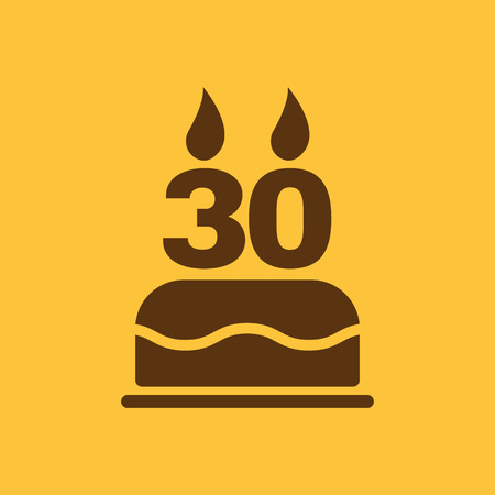 number candles: The birthday cake with candles in the form of number 30 icon. Birthday symbol. Flat Vector illustration
