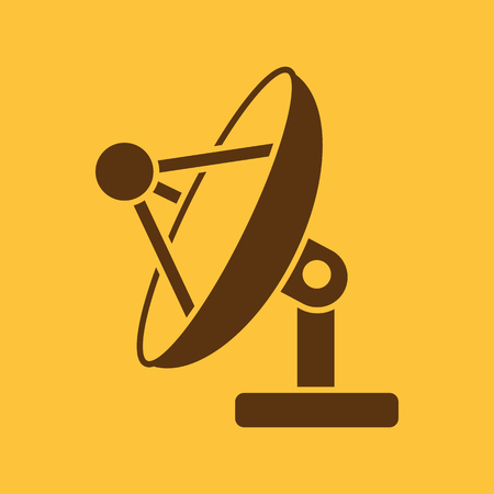 telecommunication: The satellite antenna icon. Communicate and broadcast, telecommunications symbol. Flat Vector illustration