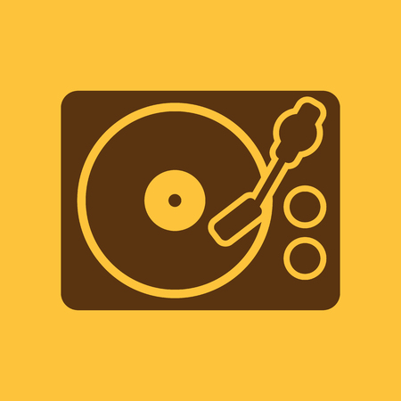 gramaphone: The turntable icon. DJ and melody, music, player symbol. Flat Vector illustration