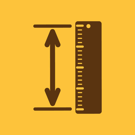 straightedge: The measuring height and length icon. Ruler, straightedge, scale symbol. Flat Vector illustration