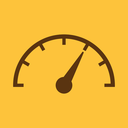 mileage: The tachometer, speedometer and indicator icon. Performance measurement symbol. Flat Vector illustration