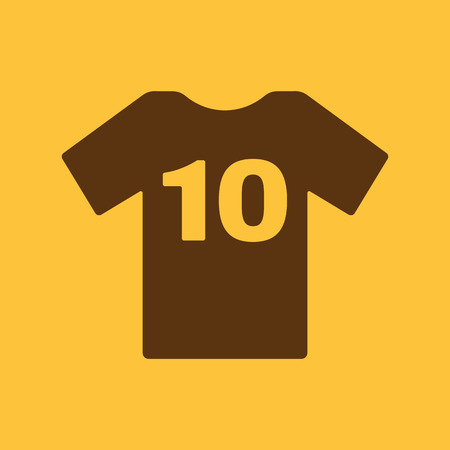 number 10: The sports t-shirt with the number 10 icon. Shirt and player symbol. Flat Vector illustration Illustration