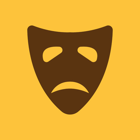 tragedy mask: The sad mask icon. Tragedy and theater symbol. Flat Vector illustration