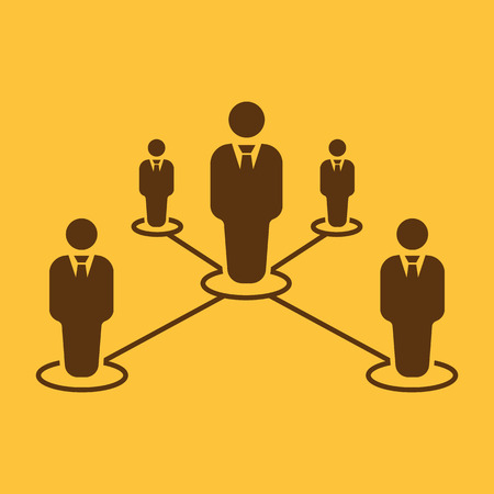 dependency: The teamwork icon. Leadership and connection, business teams symbol. Flat Vector illustration