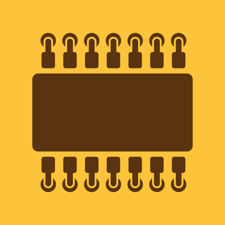 processor: The chip icon. Hardware and processor, technology symbol. Flat Vector illustration