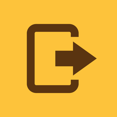 The exit bag icon. Logout and output, outlet, out symbol. Flat Vector illustration