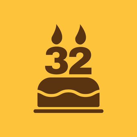 32: The birthday cake with candles in the form of number 32 icon. Birthday symbol. Flat Vector illustration