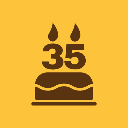 35: The birthday cake with candles in the form of number 35 icon. Birthday symbol. Flat Vector illustration