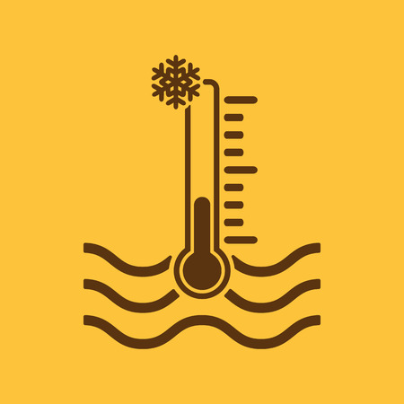 warning indicator: The cold water temperature icon. Icy liquid symbol. Flat Vector illustration