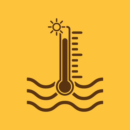 hot temperature: The warm water temperature icon. Hot liquid symbol. Flat Vector illustration