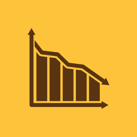 below: The graph down icon. Chart below and loss, reduction symbol. Flat Vector illustration