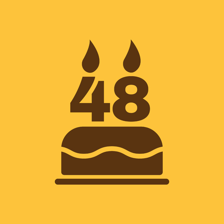 48: The birthday cake with candles in the form of number 48 icon. Birthday symbol. Flat Vector illustration Illustration