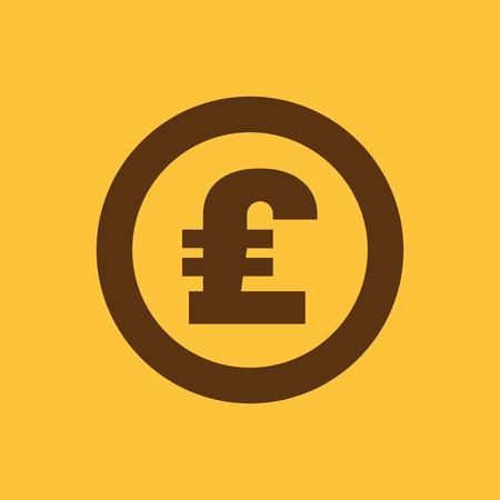 libra esterlina: El icono de la libra esterlina. Dinero en efectivo y el dinero, la riqueza, s�mbolo de pago. Ilustraci�n vectorial Flat