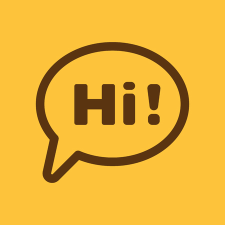 greet: The hi icon. Greet and hello symbol. Flat Vector illustration