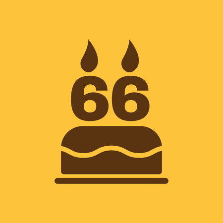 number candles: The birthday cake with candles in the form of number 66 icon. Birthday symbol. Flat Vector illustration