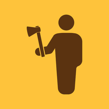 woodcutter: The lumberjack avatar icon. Forester and woodcutter, craftsman symbol. Flat  Vector illustration