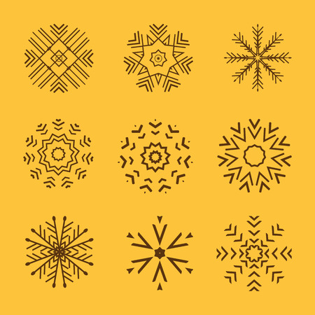 new collection: The Set of 9 vector abstract snowflakes Illustration